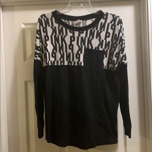 Victoria Secret Pink Black and White Long Sleeve